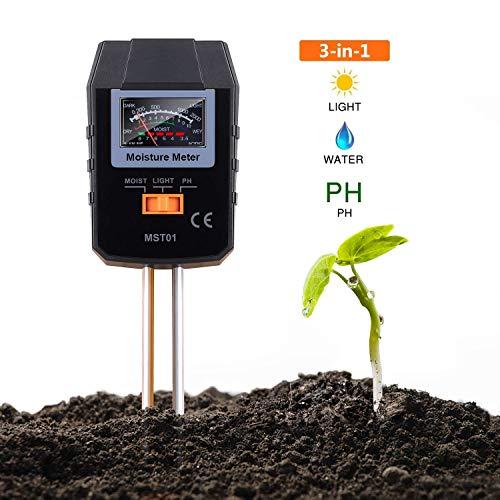 TACKLIFE Soil Test Kit, 3-in-1 Soil Moisture Meter for...