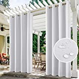 HOMEIDEAS 2 Panels Greyish White Outdoor Curtains for Patio Waterproof, 52 X 84 Inch Blackout Outdoor Curtains, Thermal Insulated White Outdoor Patio Curtains for Porch/Pergola/Yard/Sliding Door/Arbor