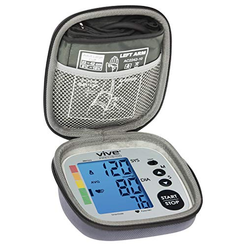 Vive Precision Blood Pressure Monitor Case - Hard Medical Travel Carrying Bag - Portable Storage with Carry Strap - Fits Wide Range of BPM Cuff - Universally Compatible - Health Accessories Pouch