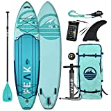 Peak Expedition Inflatable Stand Up Paddle Board — Durable Lightweight Touring SUP with Stable Wide Stance — 10'6' or 11' Long x 32' Wide x 6' Thick - (Aqua, 11')