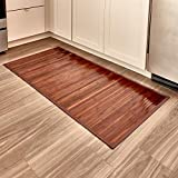 iDesign Formbu Bamboo Floor Mat Non-Skid, Water-Resistant Runner Rug for Bathroom, Kitchen, Entryway, Hallway, Office, Mudroom, Vanity , 48' x 24', Mocha Brown