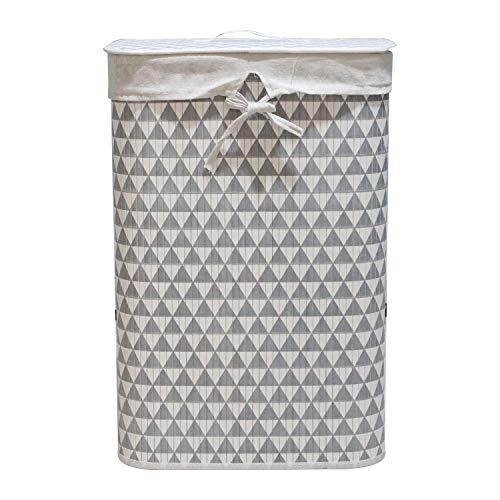 Wäschekorb Bambus Faltbar Wäschebox Wäschesammler herausnehmbar Wäschesack Rechteckig 72L