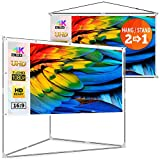 JaeilPLM 100-Inch 2-in-1 Portable Projector Screen, Outdoor Indoor Compatible with Triangle...