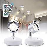 Lampe de Placard LED, 2 Pack Lampe Murale Interieur Orientable Blanc Chaud 4000K Veilleuse LED avec Télécommande Spot sans fil à piles pour Armoire Cuisine...