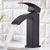 Friho Single Handle Waterfall Bathroom Vanity Sink Faucet with Extra Large Rectangular Spout, Oil Rubbed Bronze