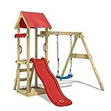 WICKEY Parco giochi in legno TinyWave Giochi da giardino con altalena e scivolo rosso, Torre d'arrampicata da esterno con sabbiera e scala di risalita per bambini