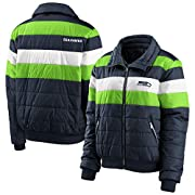 Material: 100% Nylon Body; 100% Polyester Lining; 95% Polyester/5% Spandex Rib Full-zip Heavyweight jacket suitable for cold temperatures Embroidered graphics Mock neck