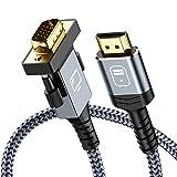 Snowkids Cavo HDMI a VGA 1.8m, Adattatore HDMI a VGA [1080p Full HD, Placcato in Oro, Cavo vga di convertitore di Nylon Durevole] Supporta Il Lettore Dvd Portatile, Monitor di TV Portatile, ECC