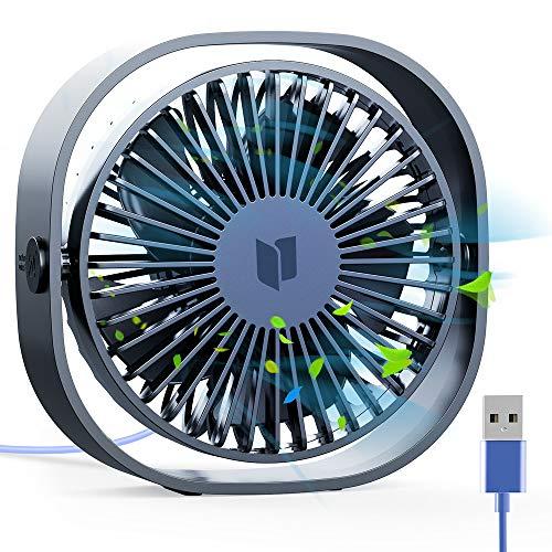 RATEL USB Ventilatore da Scrivania, 12,5 cm Mini Ventilatore da Tavolo con Cavo da 1,2 metri, Portatile e Personale per casa e Ufficio Silenzioso e Potente, Ti Fa Raffreddare in Estate Calda,Blu scuro