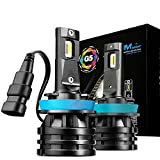 JDM ASTAR Mini Design 10000 Lumens Extremely Bright H11 H8 H16 All-in-One LED Headlight Bulbs Conversion Kit for Limit Space with an Adjustable Light Angel, Xenon White