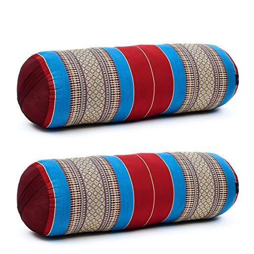 Leewadee Set de 2 Yoga bolsters Grandes – Almohadas tailandesas de kapok Natural,...