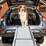 PetSafe Happy Ride Deluxe Telescoping Pet Ramp - 72 Inch, Portable, Lightweight, Aluminum Dog and Cat Ramp - Carrying Case Available, Grey, 1 Count (Pack of 1)