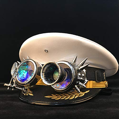 Women Men Gear Glasses Military Hat Steampunk Germany Officer Visor Cap Army Hat Cortical Police Cap Cosplay Hat,lightweight,Breathable (Color : White, Size : 55cm) (Apparel)
