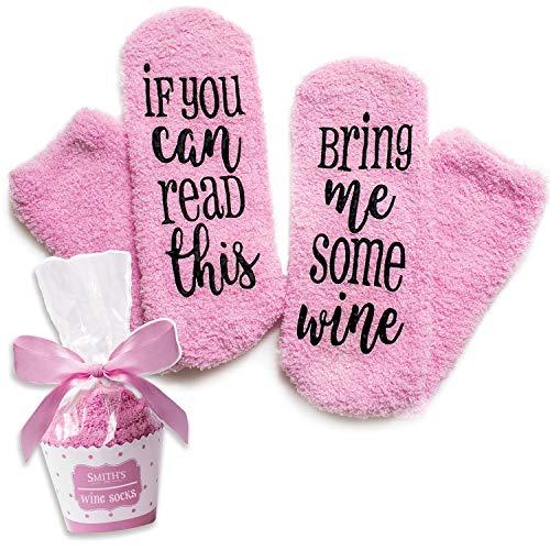Calzini Rosa di Lusso con Scritta sul Vino If You Can Read This Bring Me Some Wine con Confezione Regalo in Formato Cupcake della Smith