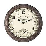 Bickerton Reloj de pared y termómetro diseño clásico para exteriores / interiores con gran cara...