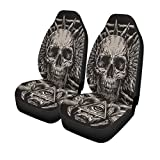 Pinbeam Car Seat Covers Demon Heavy Metal Inspired Skull on Black Evil Fantasy Set of 2 Auto Accessories Protectors Car Decor Universal Fit for Car Truck SUV