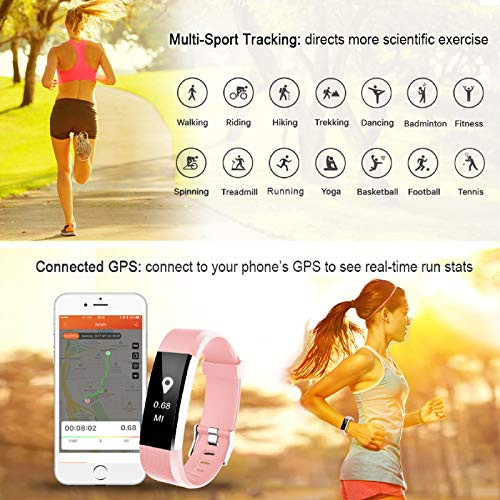 LETSCOM Fitness Tracker HR, Activity Tracker Watch with Heart Rate Monitor, Waterproof Smart Fitness Band with Step Counter, Calorie Counter, Pedometer Watch for Women and Men 5
