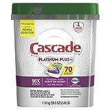 Cascade Platinum Dishwasher Pods, ActionPacs Dishwasher Detergent, Lemon Platinum Plus, 70 Count