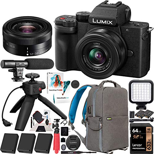 Panasonic DC-G100VK LUMIX G100 Mirrorless Camera 4K Video Vlogging Kit with 12-32mm Lens + DMW-SHGR1 Tripod Grip + 3 Battery Bundle Deco Gear Backpack + LED + Microphone + 64GB Software & Accessories