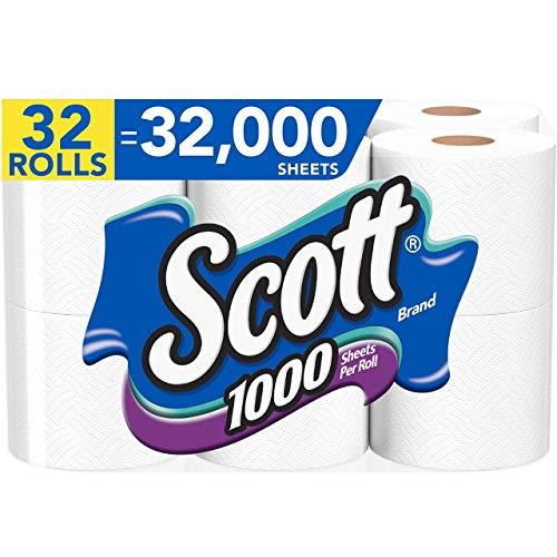 cott 1000 Sheets Per Roll Toilet Paper, 32 Rolls (4 Packs of 8 Rolls), Bath Tissue