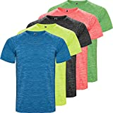 Roly T-shirt technique pour homme – Pack 5 – Manches courtes – Respirant – Sport : Fitness, Running, Crossfit, Padel – Tissu technique – Polyester, Homme, Multicolore 1, M