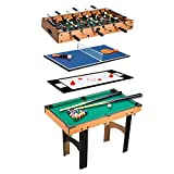 Homcom Table Multi Jeux 4 en 1 babyfoot Billard air Hockey ping-Pong avec...