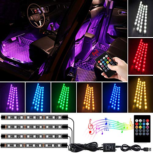 Luci interne per auto a LED, illuminazione dell'atmosfera per auto multicolore a 36 LED, porta USB multicolore 12V RGB con funzione di musica attiva e telecomando wireless