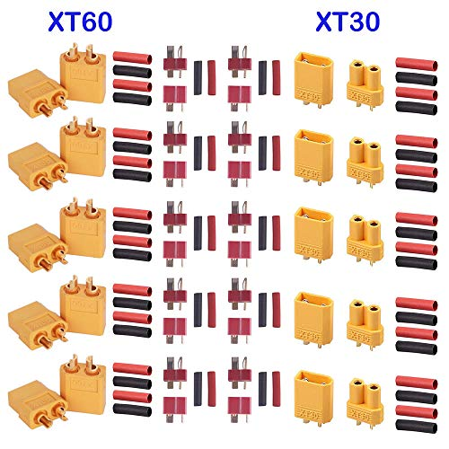 GTIWUNG 5 Pairs XT60 Maschio e Femmina Connettori, 5 Pairs XT30 Connettori per Battery Toy Vehicle,...