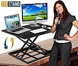 Standing Desk Stand Up Desk Height Adjustable Desk Standing Desk Converter Sit Stand Desk Converter Foldable Desk Adjustable Height Desk Folding Workstation Desk Riser Ergonomic Table Stand - 32 inch