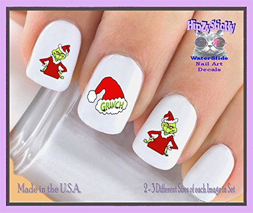 Holiday Christmas - Christmas 802X Grinch #2 Santa Suit Grinch Hat Nail Decals - WaterSlide Nail Art Decals - Highest Quality! Made in USA