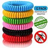 12 Pack Mosquito Repellent Bracelets, Natural and Waterproof Wrist Bands for Adults, Kids, Pets - [Individually Wrapped], Travel Protection Outdoor - Indoor