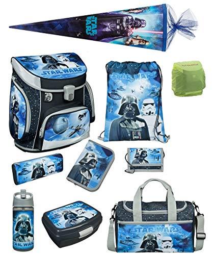 Familando Star Wars Classic Schulranzen-Set 10 TLG. Scooli Campus FIT mit Federmappe gefüllt, Sporttasche, Schultüte 85cm und Regenschutz