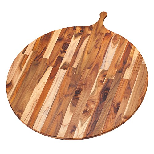 Teak Cutting Board - Large Round Serving Board With Handle (32.5 x .55 in.) - By Teakhaus