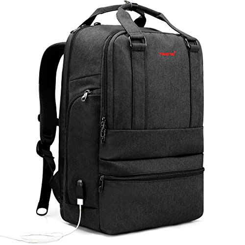 TIGERNU ビジネスバック 15.6インチ PCバッグ USBボート搭載 リュック 3way ラップトップバック レディース メンズ 大容量 出張 旅行 通勤 通学 就活(チャコール)