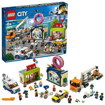 LEGO 60233 City Town Donut Shop Opening Toy Cars Set with Police Motorbike, Truck with Crane Trailer and 10 Minifigures