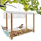 NIUXX Vogelhäuschen,vogelhaus Fenster saugnapf,separater Trinkwasserspüle und Holzsäulenhalterung,Mit Schutzhülle und Ablaufloch,Kann verwendet Werden,um an einem Baum zu hängen