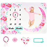 Baby Monthly Milestone Blanket, Month Blanket for Newborn Baby Girl, Memory Blanket for Baby Shower, Growth Chart Blanket, Photography Backdrop Photo Prop, Includes Bib, Headband, Wreath and Frame