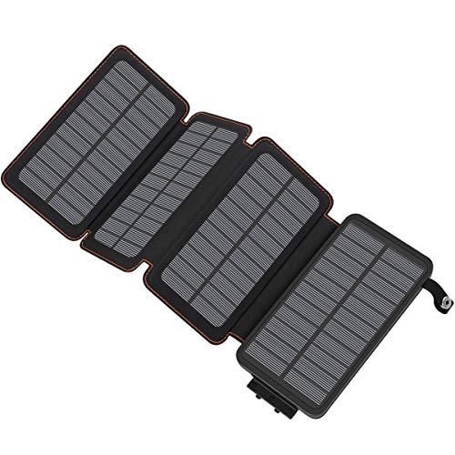 ADDTOP Chargeur Solaire 25000mAh Haute Capacité Batterie Externe avec 2 Ports USB 4.2A Power Bank Portable pour iPhone, iPad, Samsung, Huawei, Tablette et Autres