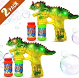 Haktoys 2-Pack T-Rex Dinosaur Bubble Shooter Gun | Ready to Play Light Up Blower with LED Flashing Lights | Bubble Blaster Toy for Toddlers, Kids, Parties (Sound-Free, Batteries Included)