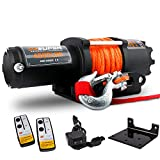 ZESUPER 4500-lb Waterproof Winch Electric Winch Kit, Waterproof IP67 Electric Winch with Hawse Fairlead, with Both Wireless Handheld Remote and Corded Control Recovery (Synthetic Rope)