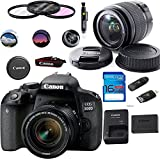 Canon EOS 800D Digital SLR Camera with 18-55 is STM Lens Black - Deal-Expo Essential Accessories Bundle (International Version)