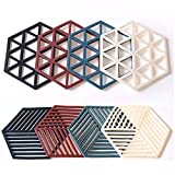 Silicone Trivet Mats and Hot Pads 8 Pcs 5.63 4.92 IN Hexagon Heat Resistant Multifuntion Kitchen Tool for Bowl Mats, Dish Mats, Placemats, and Drink Coasters (Silicone)