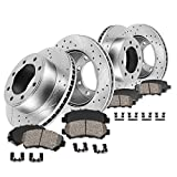 Callahan CDS02729 FRONT 324mm + REAR 330mm D/S 8 Lug [4] Rotors + Ceramic Brake Pads + Clips [ fit Express Savana 2500 ]