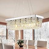 7PM Rectangle K9 Crystal Chandelier Modern Rectangular Pendant Light Fixture for Dining Room Kitchen Island Chrome L31.5' x W10' x H10'