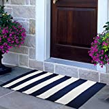 NANTA Navy Blue and White Striped Rug 27.5 x 43 Inches Cotton Machine Washable Indoor Outdoor Stripe Rug for Farmhouse Layered Door Mat