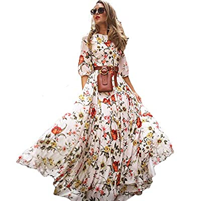 95% Rayon ,5% Spandex --soft, breathable and lightweight O Neck, 1/2 Sleeve/Short Sleeve/ Half Sleeve, A Line Flowy hemline, Floral Print, Hight waist, Vintage design. Stretchy hight waist part give you a slim figure and miles long legs, It's super c...