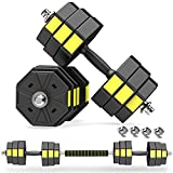 PANMAX Adjustable Dumbbells Barbell Set of 2, UP to 44/66 lbs 3 in 1 Free Weight for Home Gym Fitness Exercises for Men/Women
