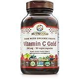 Organic Vitamin C Gold, Whole-food Vitamin C Supplement from Organic Berries and Fruits - NOT Synthetic Ascorbic Acid, 240 mg, 90 Capsules (Corn-free, Certified Organic, Vegan, Kosher, Non-GMO)