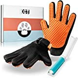 KCT Pet Care Pet Grooming Gloves - Gentle Deshedding Glove - Cat Grooming Glove - Dog Grooming Gloves - 260 Silicone Tips Per Dog Shedding Brush Glove
