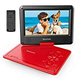 Portable DVD Player 11.5'' with 5 Hours Rechargeable Battery by SPACEKEY, 9' Swivel Screen, Support USB/SD Slot and 1.8 Meter Car Charger, Support Memory and Region Free (Red)